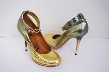 Lanvin Paris Gold/Blue Python Stiletto Shoes Size 36.5 $1735