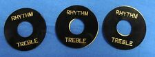 3 NEW BLACK RHYTHM AND TREBLE 3 POSITION SWITCH RING FOR GIBSON GUITAR