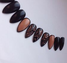 Hand Painted False Nails Black & Nude Geometrical Stiletto Full Cover Tips