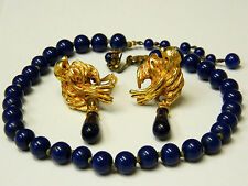 VINTAGE SIGNED MIRIAM HASKELL LAPIS BLUE GLASS NECKLACE & BIRD EARRINGS