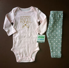 "NWT Baby Girls SZ 6/9M Months ""Grandma's Angel"" SHIRT & PANTS OUTFIT"