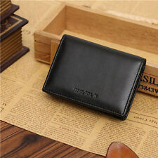 Men's Genuine Leather Wallet Bifold ID Credit Card Holder Purse Money Clip Black
