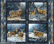 Springs Creative ~ Wintergreen DEER BUCK DOE ~ 100% Cotton Fabric Pillow Panels