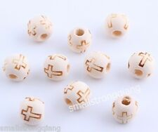 100 pcs wood Cross loose spacer beads findings charms 10mm