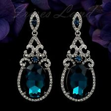 Rhodium Plated Blue Crystal Rhinestone Chandelier Drop Dangle Earrings 00595 New