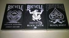 Set of 3 Black Legacy Decks Playing Cards New Ellusionist Ghost Tiger Master