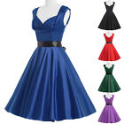 Vintage Retro 50s Style Full Circle Swing Flared Party Dress Rockabilly Pinup