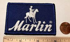 "VINTAGE*MARLIN SPORTING FIREARMS*EMBROIDERED VELCRO PATCH*BLUE/WHITE*3""x2"""