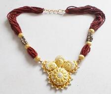 VINTAGE 80'S INDIAN STYLE BURGUNDY RED BEADED GOLD TONE PANEL STATEMENT NECKLACE