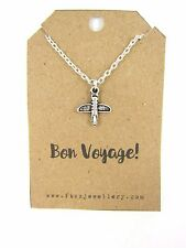 "Silver Hot Airplane Necklace ""Bon Voyage"" Message Card Quote Travelling Gift"