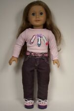 "3pc PURPLE Pants Shoe-Shirt PINK Belt Doll Clothes For 18"" American Girl (Debs)"