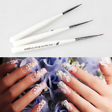 3Pcs Practical Acrylic French Nail Art Liner Painting Drawing Pen Brush Tool Set
