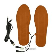 Brown USB Charging Electric Heated Insoles Shoe Pad Boots Heater Keep Feet Warm