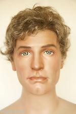 Light Chestnut Brown w 50% Grey Brunette Medium Wavy Men Wig