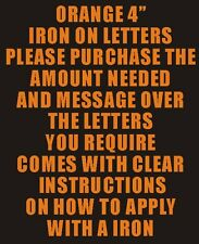 """10 4"""" ORANGE IRON ON LETTERS NUMBERS TRANSFER PRINTING"""