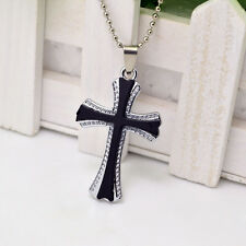 Unisex's Mens Stainless Steel Cross Black Silver Pendant Necklace Chain New Gift