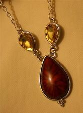 Lovely Chocolate Brown Starburst Teardrop Ambertone Accents Pendant Necklace