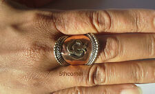 Tibetan AUM Tribal Adjustable Ring Pewter Cuff OM Handmade Nepal FairTrade