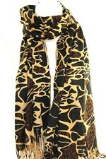 Leopard Cheetah Print Bright Pashmina Feel Scarf Scarves Wrap Shawl Stole Hijab