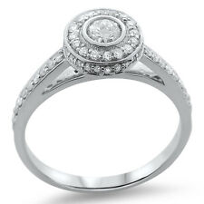 F/SI 0.70carat Round Brilliant Cut Diamonds Engagement Ring,9K Solid White Gold