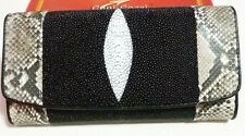 GENUINE PYTHON SNAKE STING RAY LEATHER SKIN LADIES TRIFOLD CLUTCH WALLET