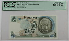 1968/5728 Red Serial # Bank of Israel 5 Lirot Note SCWPM#34b PCGS 66 PPQ Gem New