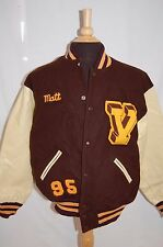"VTG 1995 VARSITY LETTERMAN JOCK JACKET ""MATT"" LEATHER SLEEVE BROWN & GOLD 44 / L"
