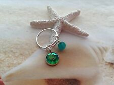 NAUTICAL MERMAID SCALE SEAGLASS BEAD SILVER PLATED EXPANDABLE RING JEWELLERY