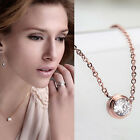 18K Rose Gold Plated Crystal Round Circle Chain Pendant Necklace Jewelry Gift
