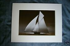 vintage sailing boat iverna at full sail yacht sepia picture art print photo