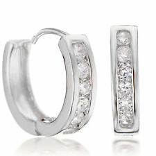 Jewelry Yellow Gold Filled Hoop Small Diamonds Earrings Gift 187-70