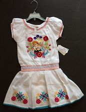 NWT Disney Store Frozen Sz M 7-8 Anna and Elsa White Woven Smocked Floral Dress