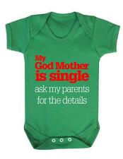 "Baby Bodysuit Funny "" My Godmother is Single"" Baby Grow Fun  / Baby Bodysuit"