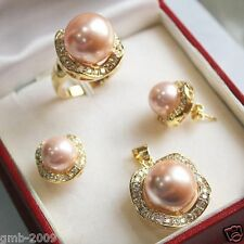 Real Pink South Sea Shell Pearl Beads/ Earrings Ring /Necklace Pendant Set