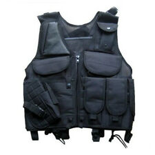 Tactical Military Hunting Combat Vest with Pistol Gun Holster Pouch Black