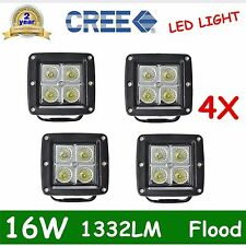 4X CREE 16W Square LED Pod Lights Lamp Offroad Flood Cube 3inch PODs Truck Flush