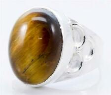 TIGER EYE GEMSTONE RING SOLID 925 STERLING SILVER JEWELRY SIZE 6.75 IR14648