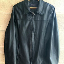 Dockers Basic Black Leather Zip Front Winter Fall XL Womens Jacket