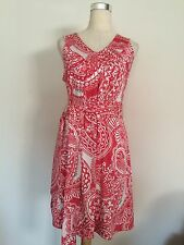 Euc Lilly Pulitzer Peach Ivory Little Stretchy Cotton Silk Summer Dress Sz.s