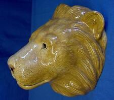 QUAIL CERAMIC LION HEAD WALL POCKET OR VASE