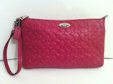 Sale ! COACH Authentic Signature  Embossed Leather Large Wristlet Clutch F52643