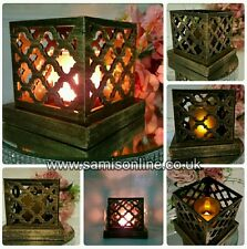 VINTAGE ARABESQUE ARABIAN LED GLIMMER LANTERN DECOR ORNAMENT TEALIGHT HOLDER
