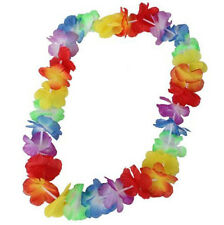 10PCS FLOWER LEIS GARLAND NECKLACE FANCY DRESS PARTY HAWAII BEACH COLORFUL