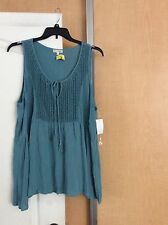 New Love On A Hanger -Light Teal with crochet lace front women top Plus Size 2X