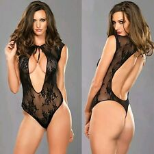 Sexy Teddy lingerie V shape black lace G-string bodice open back size 8-12 UK