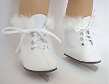 """Lovvbugg White Furry Fur Ice Skates for 18"""" American Girl Doll Clothes & Shoes"""