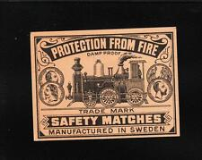 VINTAGE Matchbox Label DEEP RICH COLOR 3.5x2.75 Steam Engine Train Sweden B1