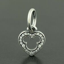 New Authentic 925 Pandora Charm DISNEY HEART SILVER DANGLE No.791557CZ
