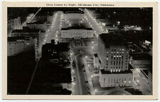 1947 OKLAHOMA CITY ABOVE VIEW AT NIGHT OF CIVIC CENTER OLD  POSTCARD PC770