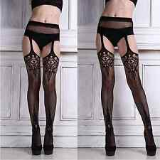 Womens Kinky Suspender Tights Garter Belt Stockings Sexy Pantyhose Hosiery BLACK